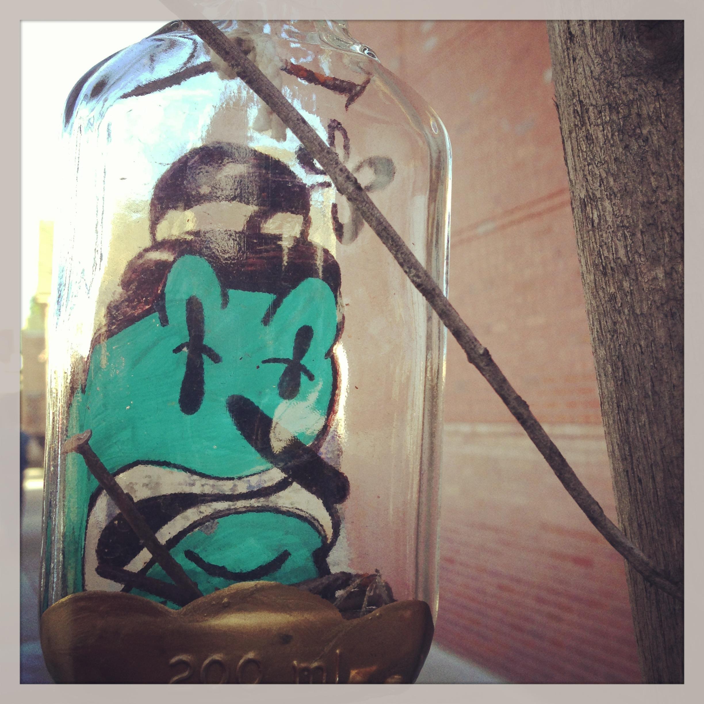 graffiti painted bottle, Alameda, CA