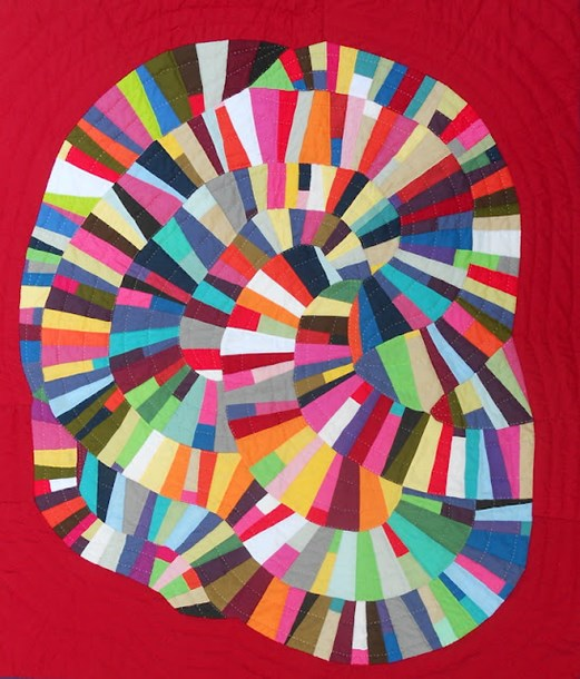Quilt by Mina Kennison Inspried by the Score for Get Your Curve On from The Improv Handbook For Modern Quilters