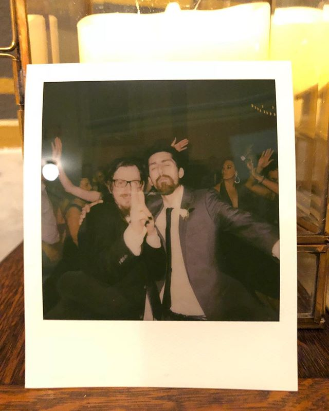 "Patty knife AKA Scags AKA the valley kid who pronounces bagel ""begel"" alongside the newlywed Condor AKA Kewl Cris during a wedding rendition of ACDC. Circa 2018."