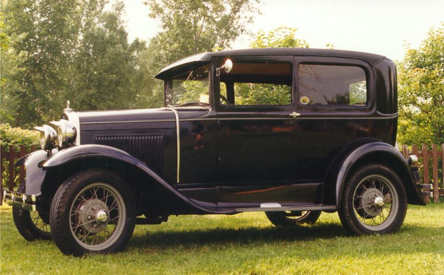 An early 1930 Model A Ford Tudor sedan.