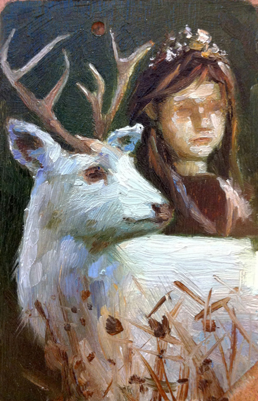 Girl with White Stag