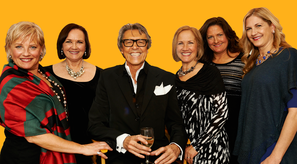 The Casserly sisters celebrate with Broadway legend Tommy Tune at his appearance at Lundstrum in 2014.