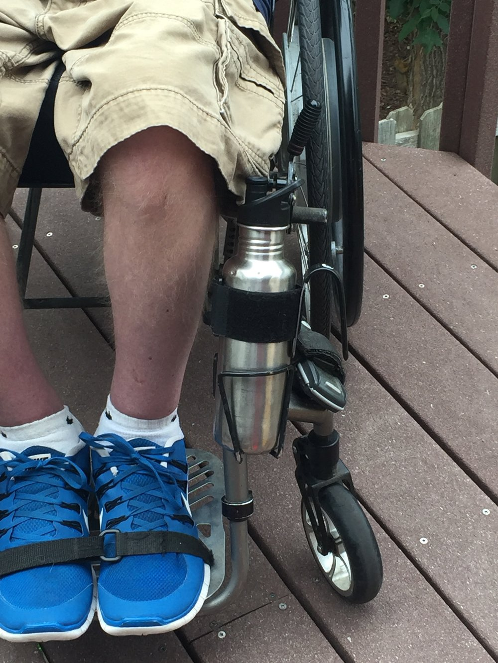 uDrink on water bottle & QuickCage on wheelchair
