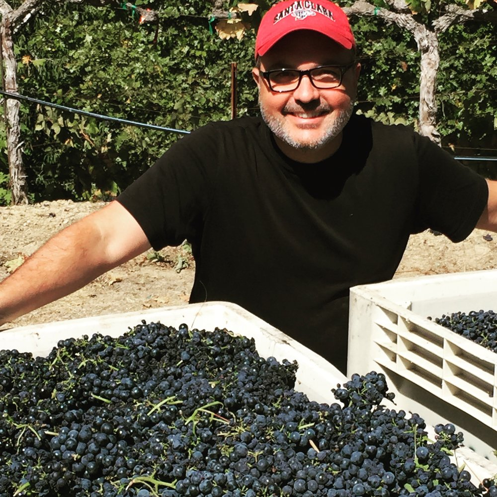 Mark Farmer with the 2015 Zinfandel harvest.