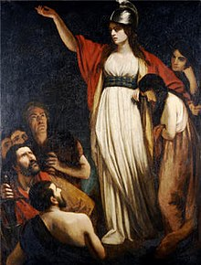 Queen Boudica in John Opie's painting  Boadicea Haranguing the Britons