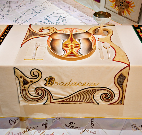 Boadaceia place setting, The Dinner Party, Judy Chicago, 1974-79