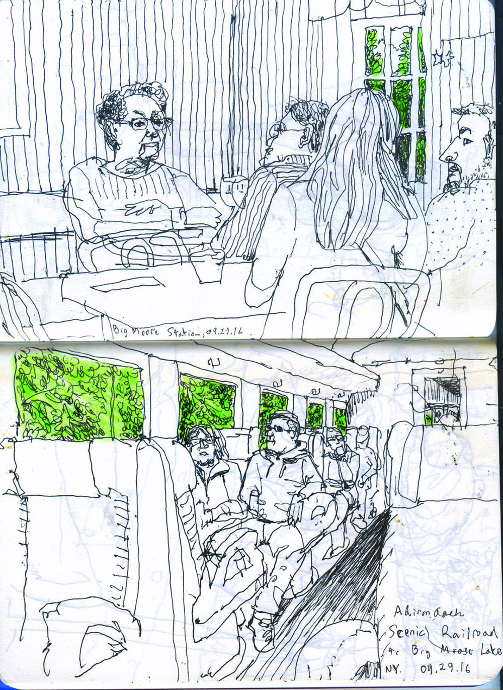 Some drawings from a scenic train ride my father & I took in the Adirondacks