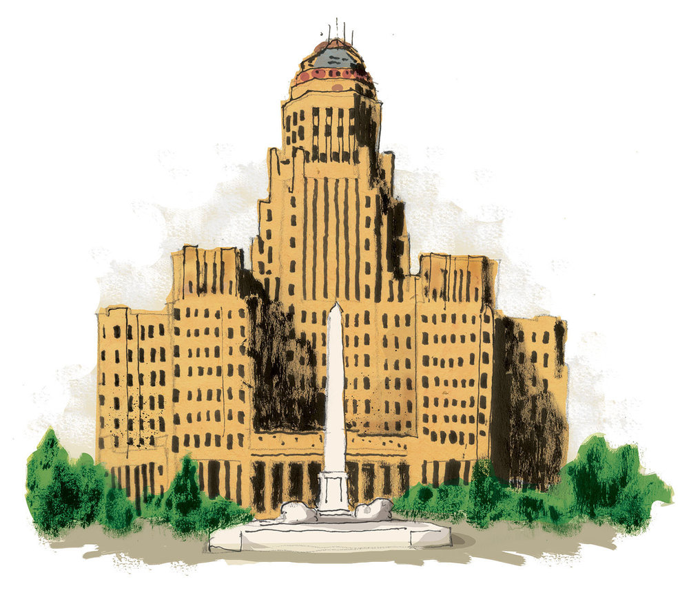 An example of one of the vignette illustrations on the map, City Hall in Buffalo, NY
