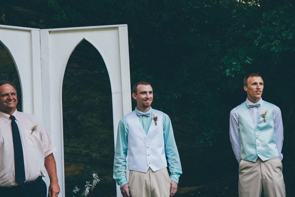 While our fathers and Groomsmen wore white shirts with mint vests and bow ties, Zach wore the exact opposite. Mens Wearhouse did not offer mint dress shirts, so we bought his elsewhere and, thankfully it matched very well.  See other unique, personal ideas here: https://www.pinterest.com/oneweddings1/wedding-ideas/  Photo Credit: Matthew Garsky and Alec Fritz Photography