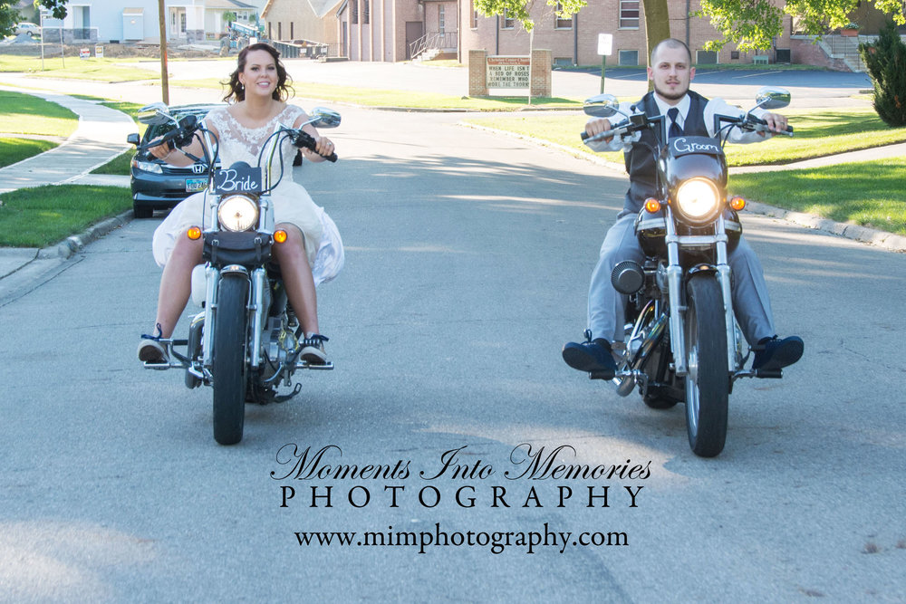 summer motorcycle wedding