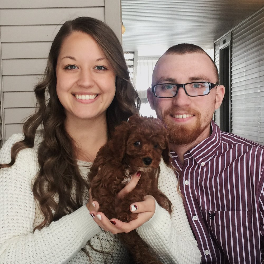 My little family - Yours truly, our puppy baby, Biscuit Ruth, and my gorgeous husband, Zach. Photo Credit: Olivia Suitor