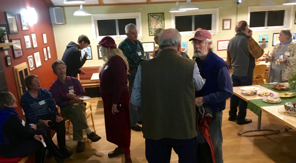 Volunteer old-timers, and new, at Sierra Roots first Volunteer Mixer held at Nevada City Co-Housing
