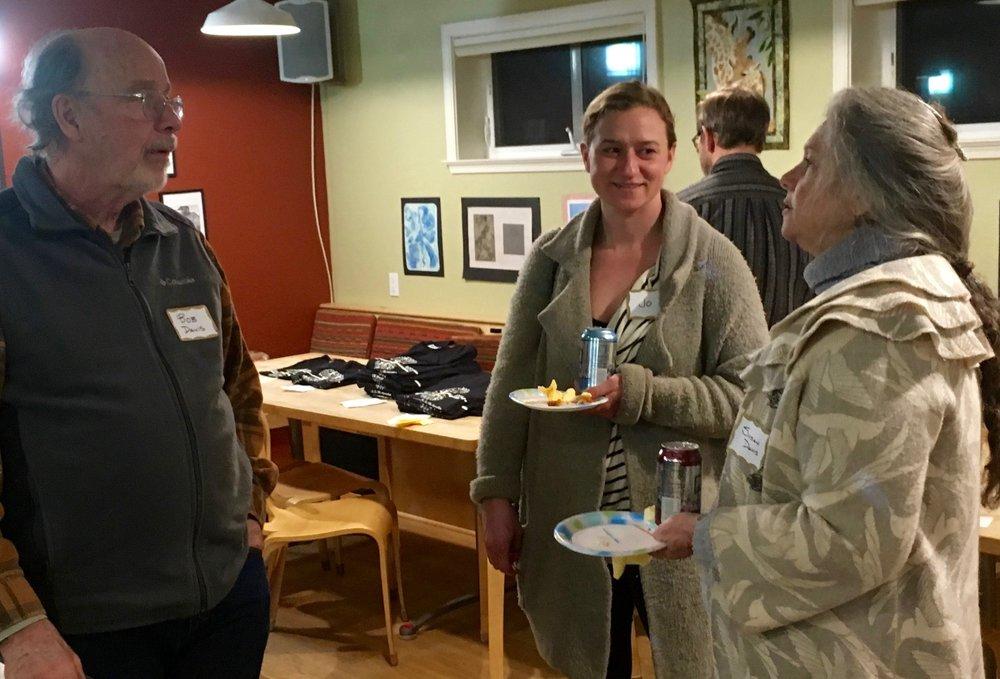 Bob Davis, Jo Garst, and Susan Davis, members of Sierra Roots Village Project Development Team