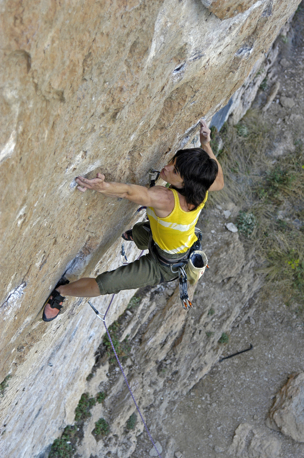 Eva on her first 8c, Nuria, Cuenca. Photo by Jose Yañez