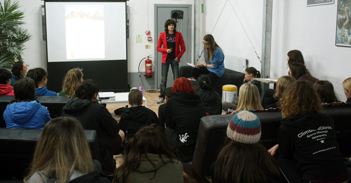 Eva was the keynote speaker at the Womens Climbing Symposium 13 at the Biscuit Factory, London.