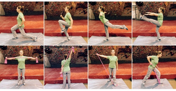 Some examples of dynamic movement with body weight & theraband resistance: lunges, jumps, squats, gentle dynamic leg stretches