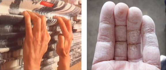 Figure 4. Open-crimp grip (left), when using on small edges, can likely hurt the skin at the DIP of the shorter fingers (right).