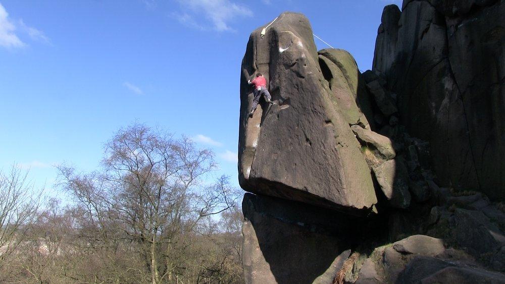 Matt on his solo ascent of Gaia, E8 6c, Black Rocks