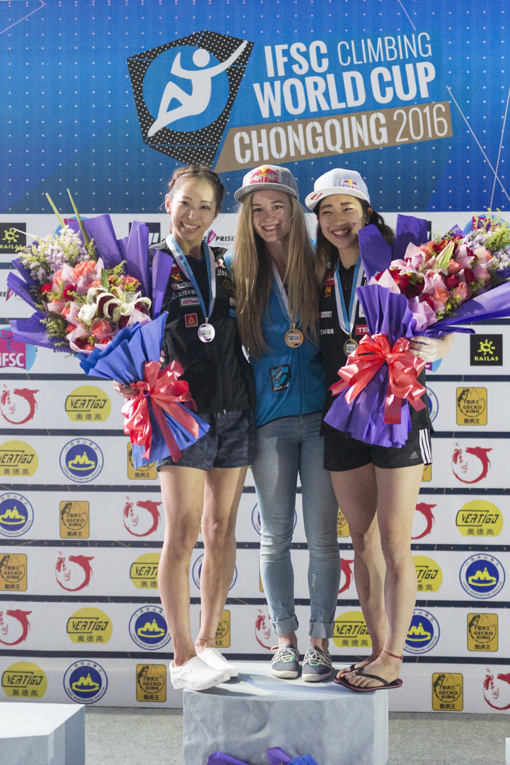 Akiyo Noguchi, Shauna Coxsey & Miho Nonaka on the podium. Photo: Heiko Wilhelm