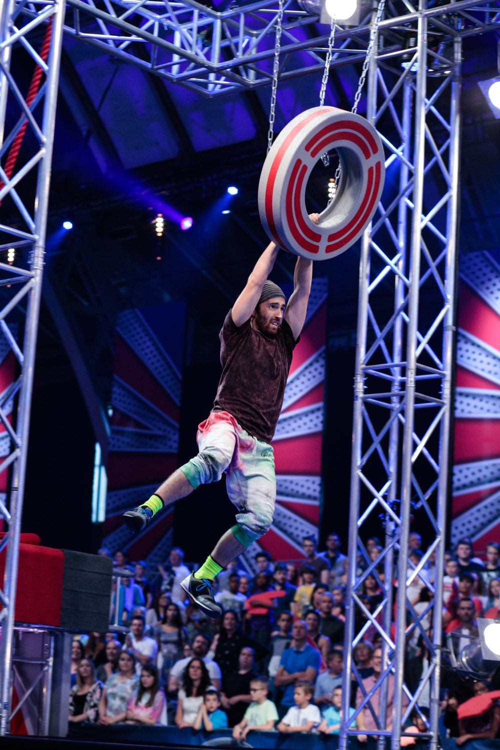 Jacob, swinging through a UK Ninja Warrior course.