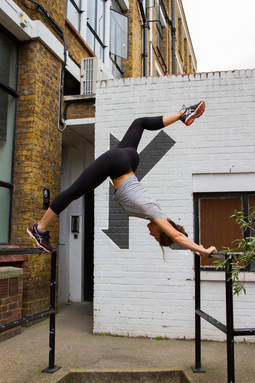 Tiffany displaying her lower body flexibility.