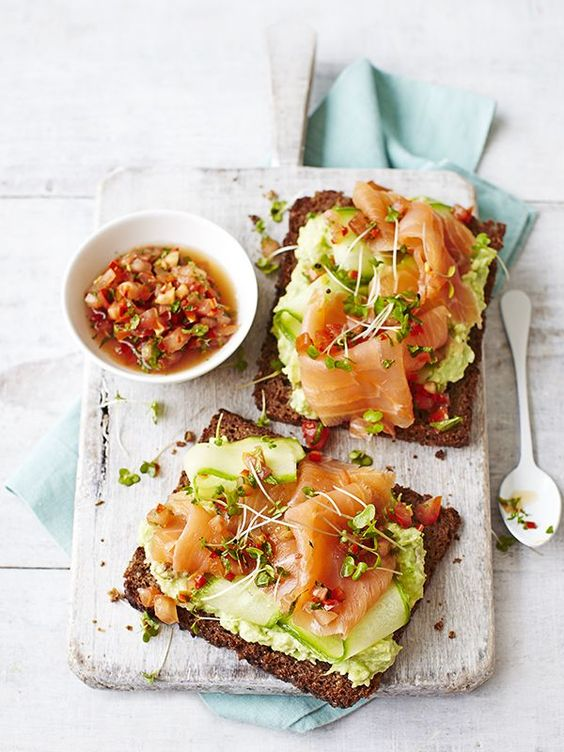 What you will need;  1tsp Olive Oil, 1 Avocado, Smoked Salmon, Cucumber & Tomatoe to garnish