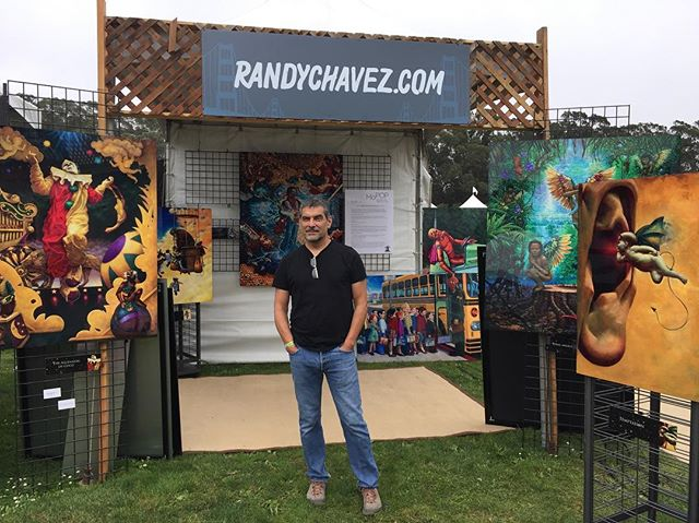 Get your 3D glasses ready...#Outsidelands is rocking & rolling! Head to the Art Pavilion near the windmills ✌🏾 . . . . . #ol10 #randychavez #artpavilion #artbooth #studio #aluminumprints #magnachrome #jimihendrix #chavezcollection