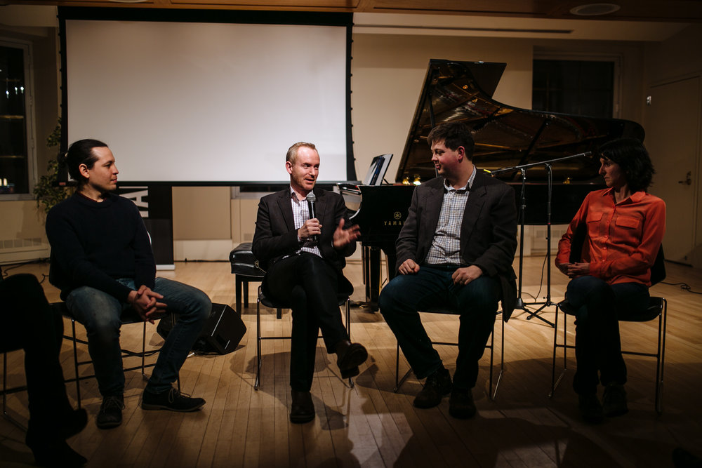 "From left to right: Ché Pérez, Matthew Kleban, David Ibbett, and Irmgard Bischofberger (panel discussion following ""What the Waves Brought"" at Yamaha Artists Services). Photo credit: Tayla Nebesky."