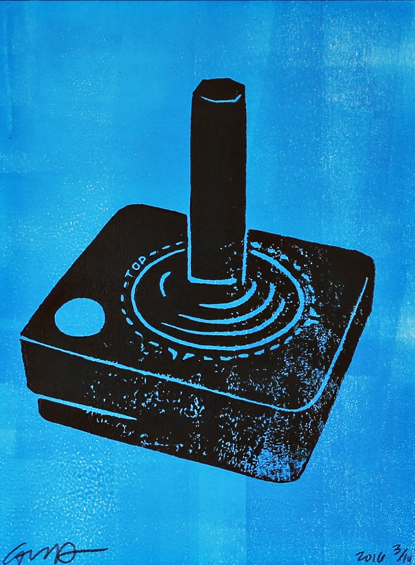 atari joystick (black and neon blue)