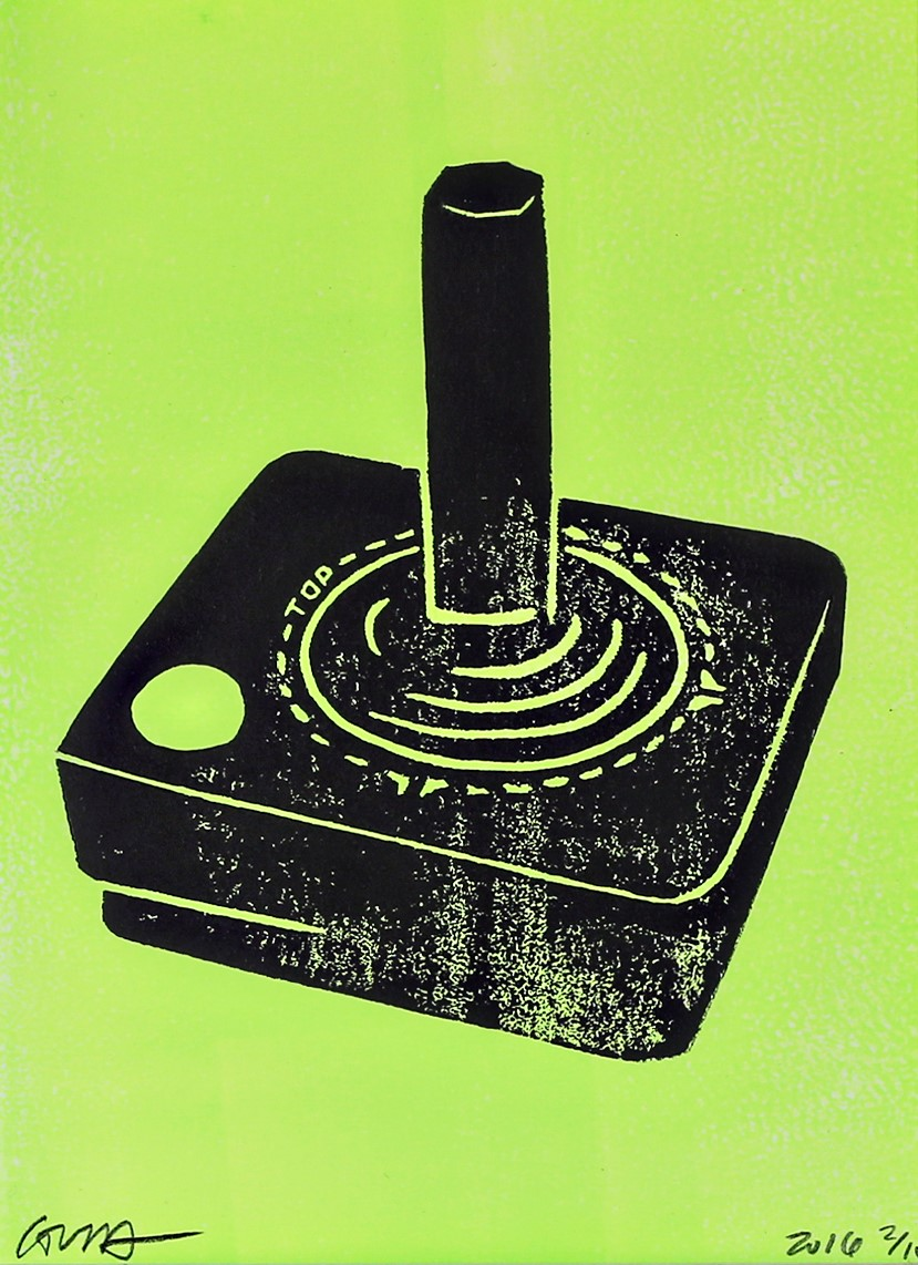 atari joystick (black and lime)