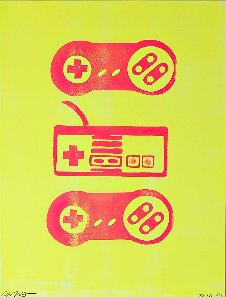 nintendo NES & SNES (neon yellow & pink)