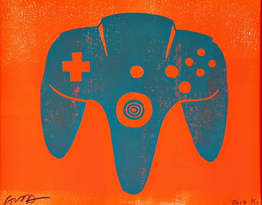 nintendo N64 (turquoise & neon orange)