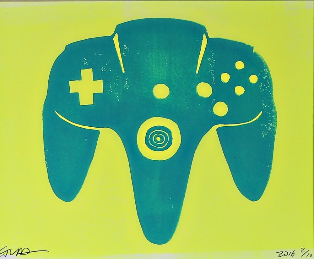 nintendo N64 (turquoise & neon yellow)