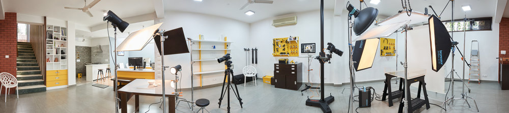 Located in Gurgaon, our studio is spread over 2,000 sq. ft. of space, with dedicated shoot, retouching and client areas, as well as a functional kitchen with ample room to install any additional equipment which may be required.  Our in-house workshop is fully equipped to build customised sets, props and rigs as per the project requirements.