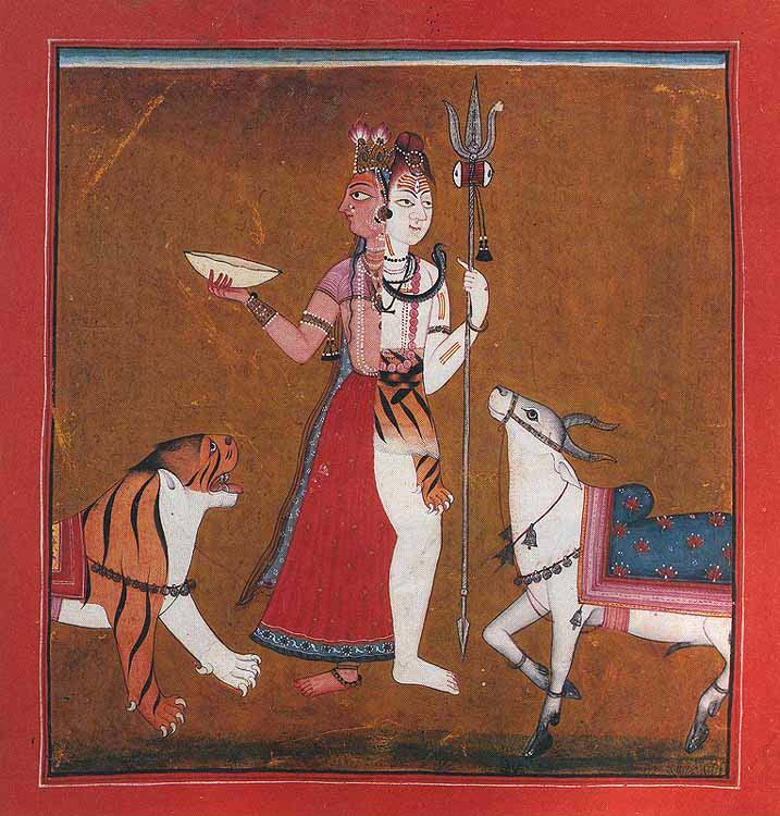Ardhanarishwara: Shiva and Shakti in the same body; Mankot School, Western Punjab Hills, c.1710-20