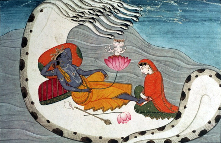 Vishnu (with his consort Lakshmi) sleeping on the serpent Adishesha, with Brahma meditating on a lotus growing out of Vishmu's navel, thus creating time