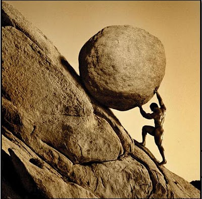 Sisyphus pushing the boulder up the mountain (Image courtesy Gerard Van der Leun)