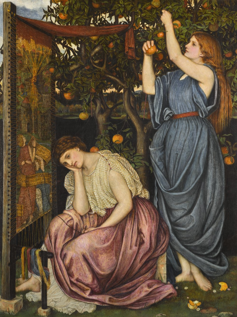 Penelope at her tapestry loom with a handmaiden picking apples. (Date: 1864; Medium: oil on canvas) https://commons.wikimedia.org/wiki/File:John_Roddam_Spencer_Stanhope_Penelope.jpg