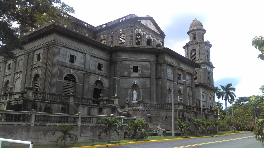 Catedral de Santiago (the Old Cathedral) built in Belguim and shipped to Nicaragua in 1920 is ruined after years of earthquakes. Rumors fly of future restoration.