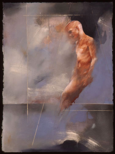 Blue Kouros , 35 x 27 inches, oil on sized paper, 2002