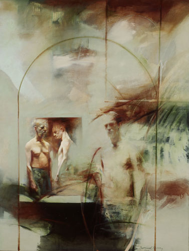 Puer/Senex II , 49 1/2 x 37 1/2 inches, oil on canvas, 2001