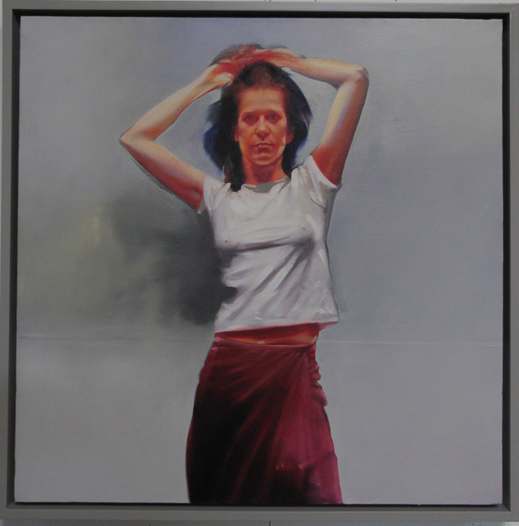 Young Woman with Hands Over Head 1 , 29 1/2 x 29 1/2 inches, oil on canvas, 2014