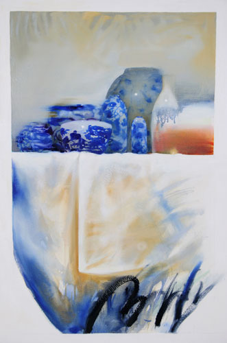 Blueware,  29 1⁄2 x 37 inches, oil on gessoed paper, 2005