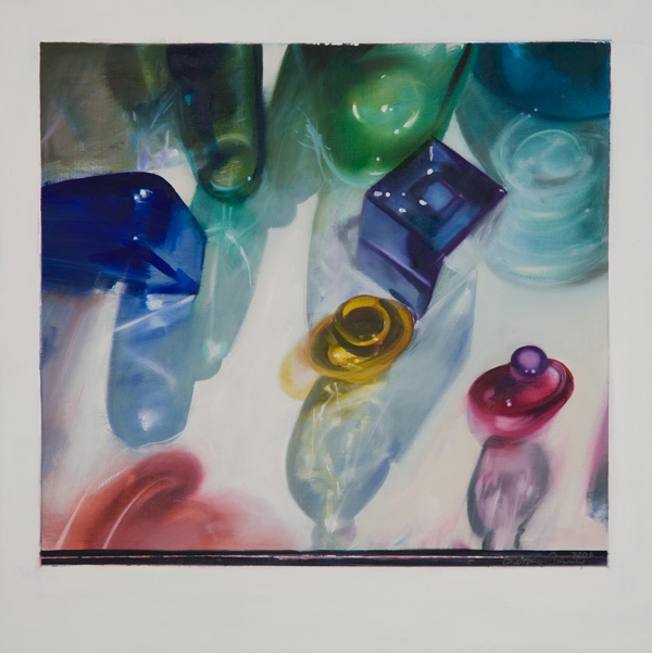 Bottles II , 24 x 24 inches, oil on canvas, 2006