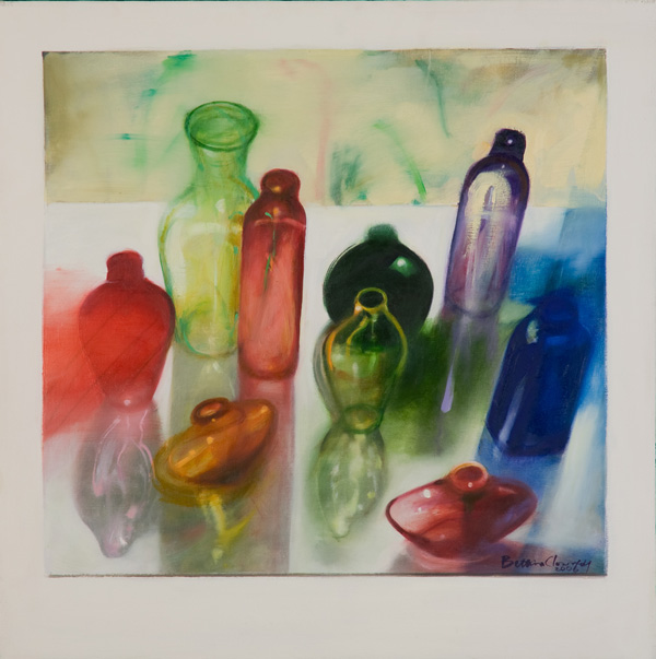 Bottles IV , 24 x 24 inches, oil on canvas, 2006