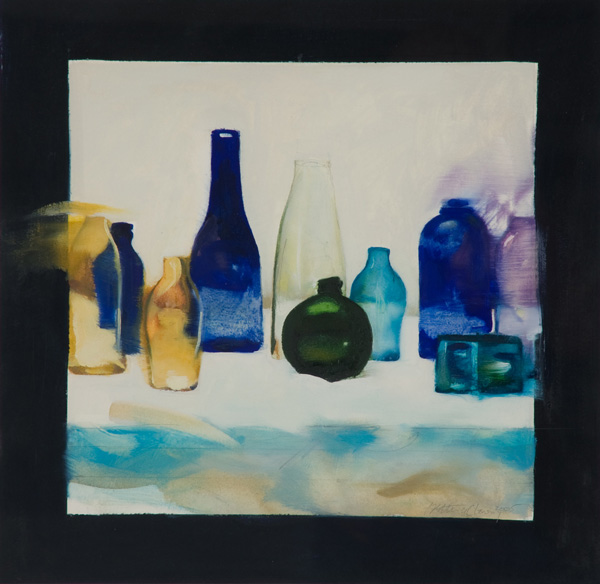 Blue Bottles,  25 1/2 x 25 1/2 inches, oil on canvas, 2012