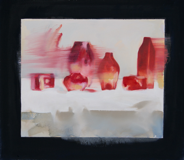 Red Bottles,  25 1/2 x 25 1/2 inches, oil on canvas, 2012