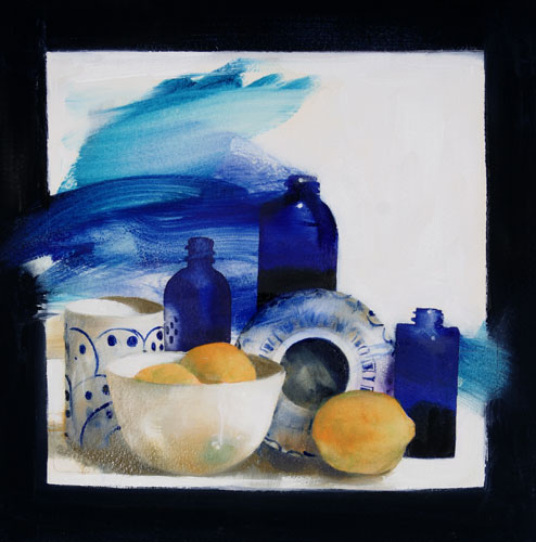 Small Bottles with Lemons , 20 x 20 inches, mixed media on sized paper, 2005
