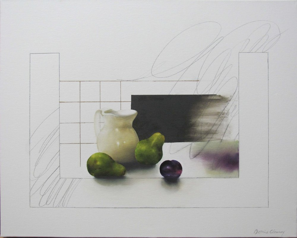 "Still Life, Pears, Plum  25 3/4"" x 31 3/4"", oil, 2015"