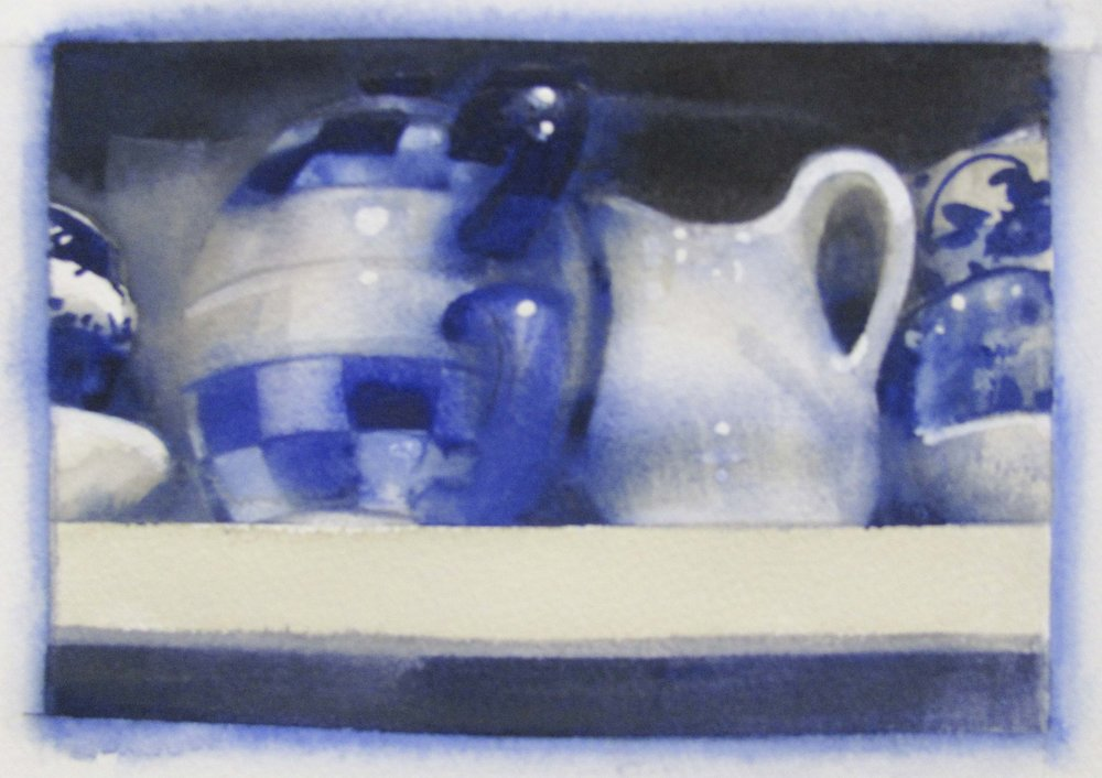 "Blue, White 2, 15"" x 13"", watercolor, 2012"